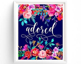 Nursery Prints, Printable art, Adored, Nursery Art, Bedroom Wall Decor, Royal Blue, Floral Calligraphy