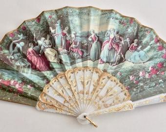1970's Spanish Fan w/Printed 16th Century Ladies in Waiting Motiff