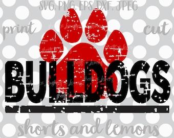 Bulldogs svg, Bulldogs cricut,  Cut File, Bulldogs iron on, Bulldog, Paw svg, iron on, Digital Download,  Distressed svg