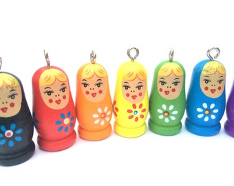 RED Wood Matryoshka - Stacking Doll-  5 pieces