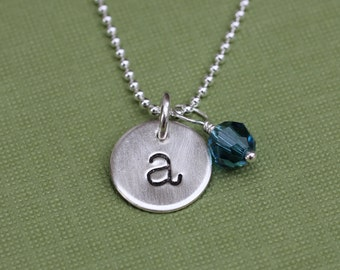 Initial and Birthstone Necklace; Letter Necklace in Sterling Silver