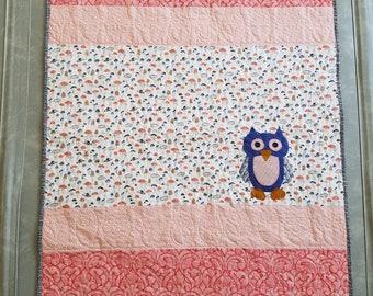Baby quilt, woodland, owl, modern, crib size, baby girl
