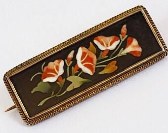 Antique Pietra Dura Silver Brooch