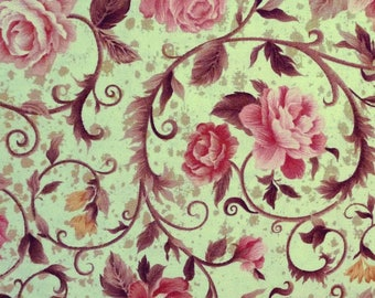 Fabric cotton 65 X 110 cm, fabric garlands of pinks, green and pink fabric, fabric marks fabri-quilt