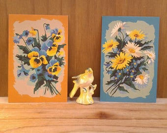 Vintage floral paint by number - flower paint by number - flower paintings - wall decor - daisies - pansies - flower pictures - floral decor