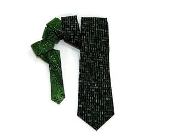 Binary tie, Binary and Circuit Boards tie, computer tie, mother board tie, green binary code, computer code tie, coding tie, programmer tie