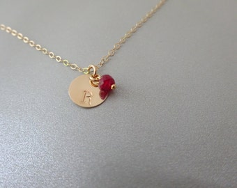 Ruby necklace, Genuine Ruby Necklace with hand stamped disc Initial, Wedding Gift, Custom Birthday Gift, 27 Natural gemstones to choose from