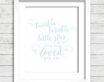 Twinkle Twinkle Little Star do you know how Loved you are in blue Digital Printable Wall Decor- Instant Download