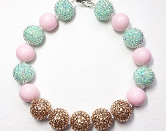 Pink and gold chunky bubble gum necklace, chunky bead necklace, photo prop necklace, flower girl necklace,