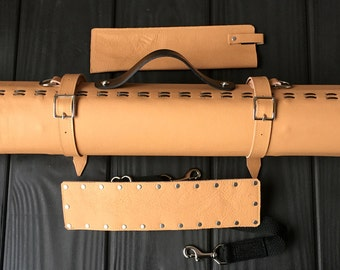 Leather Knife Roll - Yellow