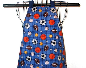 Childs Apron Ages 1-3 Sports Balls Reversible Adjustable Kids