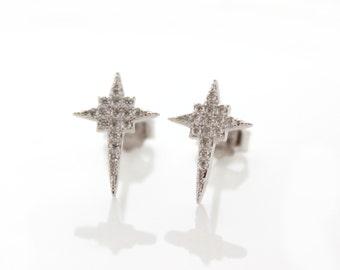 Pavé cross earrings • Cross paved stud earrings • Minimalist silver earrings • Gift for her