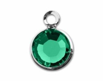 MAY BIRTHSTONE Emerald - Swarovski Crystal Silver Plated Birthstone Channel Charms