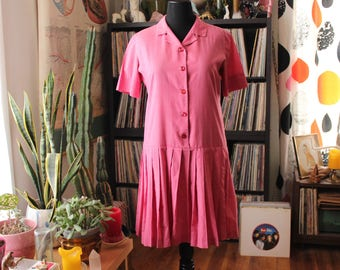 1960s 70s vintage drop waist dress with pleated skirt . womens large xl . pink shirt dress, knee length