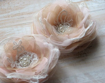 Set of 2 blush champagne flowers Blush hair flower Champagne hair flower Ivory champagne flower Champagne wedding Blush champagne bridal