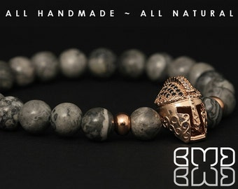 Natural Scenery Jasper Beads with Rose Gold Plated Micro Pave CZ, Spartan Gladiator Helmet, Ancient Warrior Men's Women Mala Beaded Bracelet