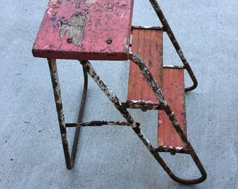 Rustic farmhouse red stepstool chippy paint rusty