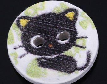 5 buttons wood kitten black kitten - round 15 mm - 2 holes - tone black white green