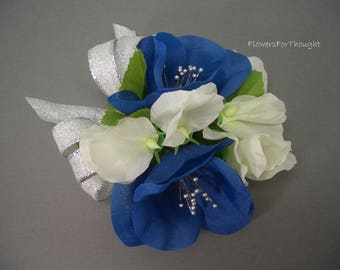 Wedding or Prom Corsage, Blue White, Poppy Sweet Pea Flowers, Silver Ribbon