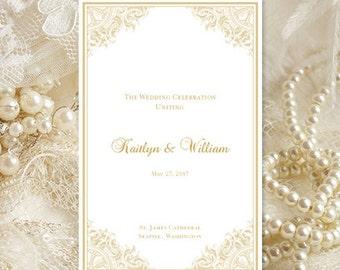 Wedding Program Template Printable Wedding Program DIY