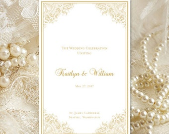 Wedding Program Template Vintage Champagne 85 X 11 Foldover Printable Word Order Of Service Ceremony DIY You Print