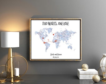 Custom wedding map Destination wedding personalized map Wedding guest book Wedding gift Watercolor map Save the date map Custom guest book