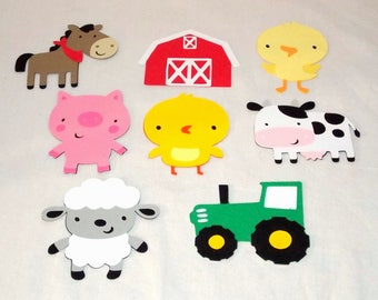 Farm Cut Out Large Barn Chick Cow Horse Tractor Duck Pig Lamb Customize Set Barnyard Die Cut DIY Party Decor It's A Boy Happy Birthday