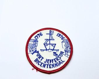 Vintage Port Jefferson NY Bicentennial Patch 1976 Red White Blue Long Island Village