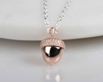 18ct Rose Gold Acorn Necklace