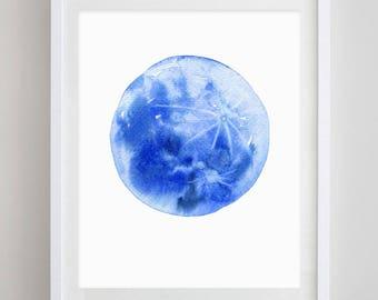 Blue Moon Watercolor Art Print