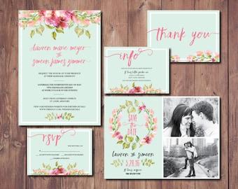 Printable Wedding Invitation Printable Mint Wedding