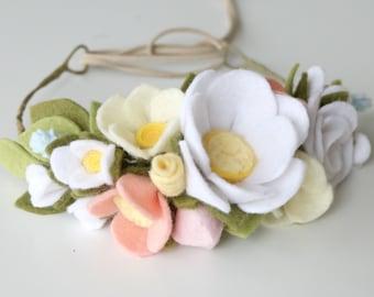 Felt Flower Crown - Felt Flower Headband - Baby Crown - Flower Crown - Flower Headband - Baby Shower Gift - White Flower