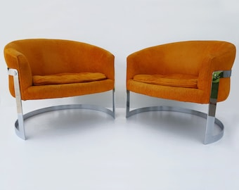 Pair of Milo Baughman Barrel Back Chairs - Mid Century Chrome Flat Bar Lounge Chairs - Tufted- Original Condition