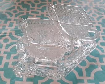 Tiara sandwich creamer, sugar, and plate by Indiana Glass