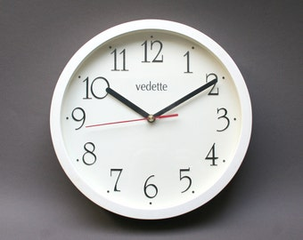 Vintage 1980s French VEDETTE wall clock, Sober and minimalist design, Round shape and plastic, White wall hanging decor, Kitchen ornament