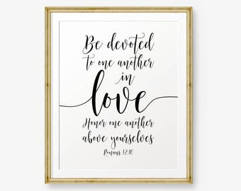 Bible Verses Printable, Romans 12:10, Be Devoted To One Another In Love