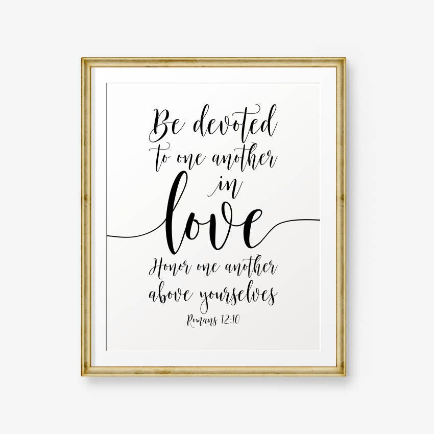 Wedding Bible: Bible Verses Printable Romans 12:10 Be Devoted To One