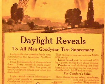 c1915 Goodyear Tire Ad Matted Antique Print