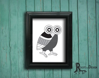 Instant Download - Printable Black and White Owl Print,  8x10 art prints