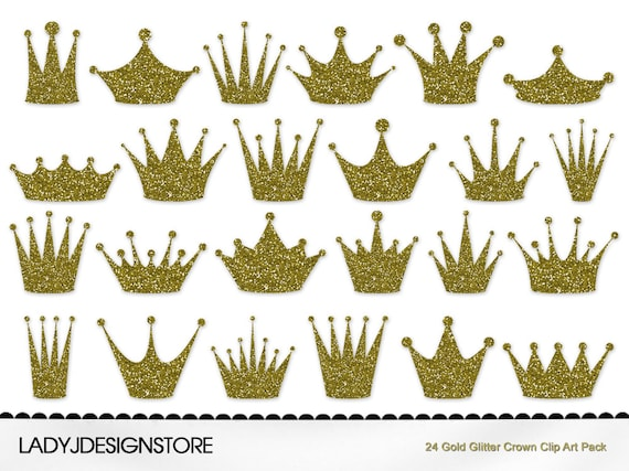 gold glitter crown clip art pack 24 digital clip art crowns rh etsy com queen crowns clipart clip art crowns and tiaras