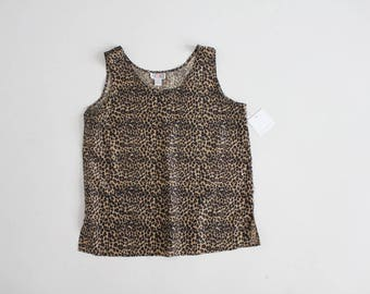 leopard silk tank top | 90s silk blouse | leopard print blouse