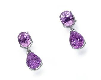 Pink Kunzite Dangle Earrings  ME1730
