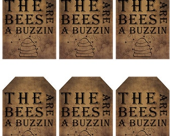 grungy tag set, primitive tags, craft supplies, scrapbooking  - the bees are a buzzin - digital PDF & jpeg - BBGT01
