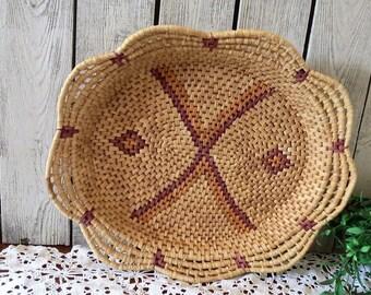 Vintage Coil Basket Woven Bohemian Chic - Wall Basket Southwestern - Oval Coil Basket