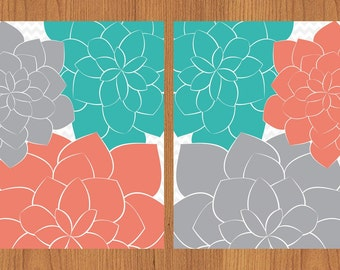 Floral Flower Burst Coral Teal Grey Set of 2 Wall Art Baby Decor Bedroom Bathroom Livingroom Kitchen Grey Chevron Print  8x10  (98)