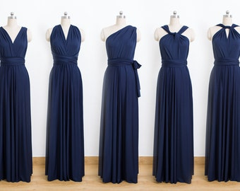 Navy Blue Maxi Infinity Dress, Convertible Bridesmaid Dress, cheap prom dress, Evening Dress,Multiway Dress, Wrap Dress, formal Dress