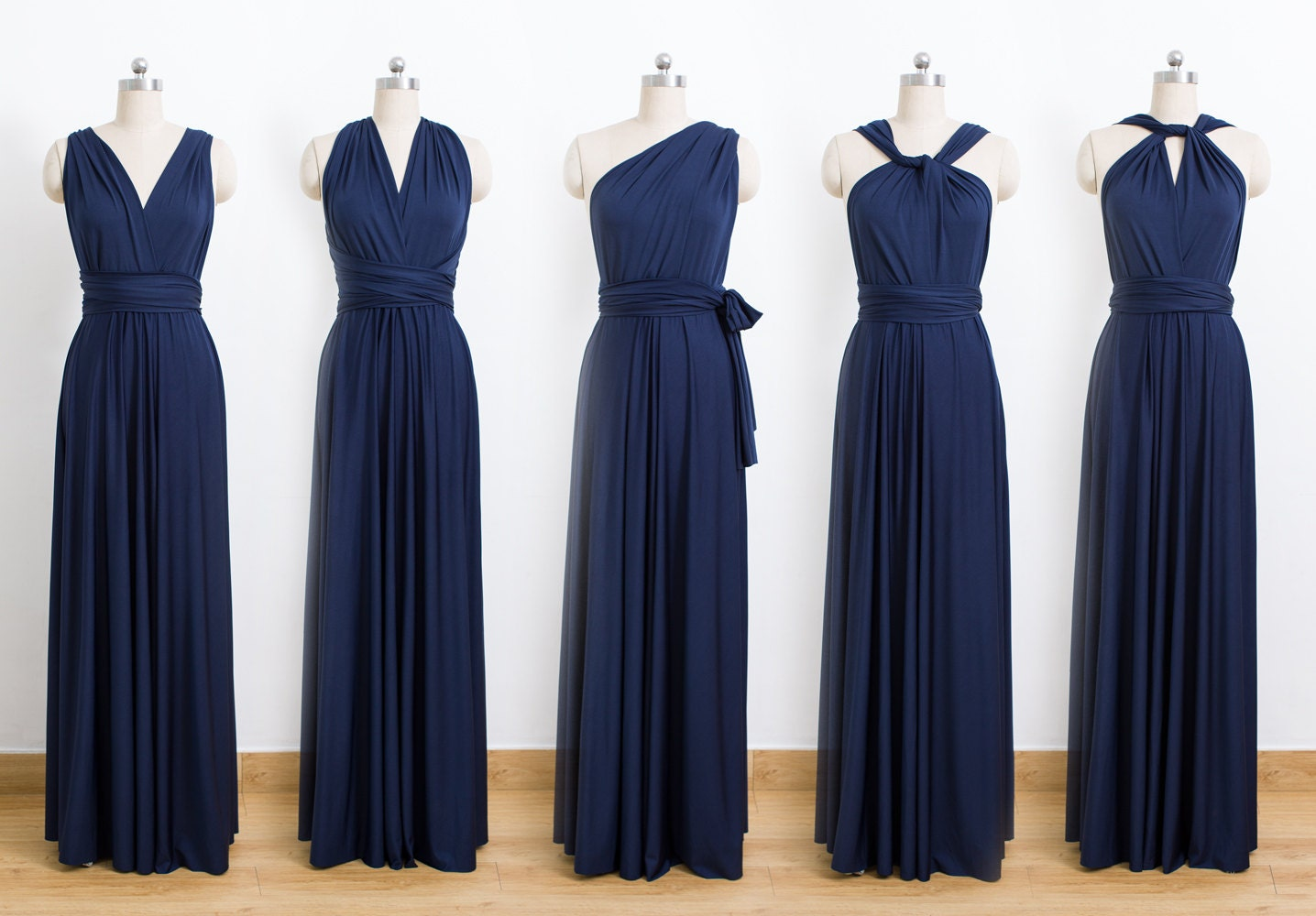 Navy blue maxi infinity dress convertible bridesmaid dress for Navy blue maxi dress for wedding