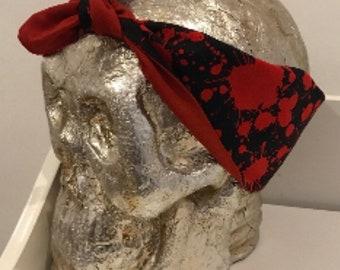 Blood Splatter Bandana - Dexter - Horror Gift - 50s Pin-up Hair - Headband - Top Knot - Stocking Stuffer/Filler - Secret Santa