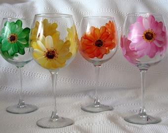 Orange Rosa Gelb Gerber Gänseblümchen Wein Glas große handgemalt spülmaschinenfest