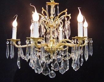 """Elegant Custom Dressed Vintage CRYSTAL 6 Light 18"""" Spanish  BRONZE CHANDELIER Brilliant Gold Plated"""